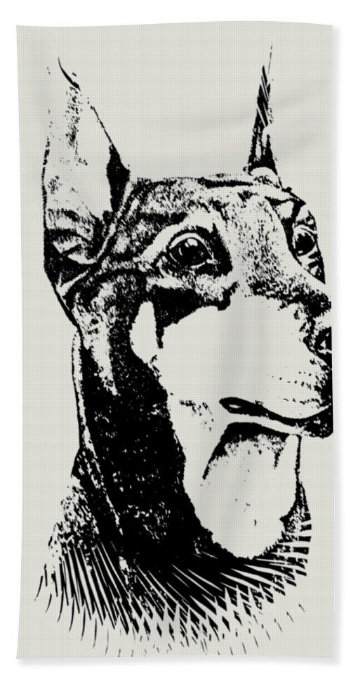 Dog Hand Towel featuring the painting Doberman by Teresa Peterson