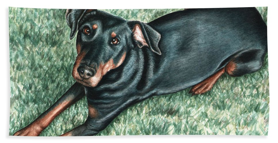Dog Hand Towel featuring the painting Dobermann by Nicole Zeug