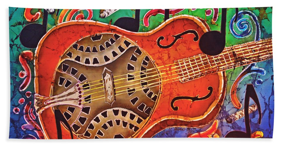 Dobro Hand Towel featuring the tapestry - textile Dobro - Slide Guitar by Sue Duda