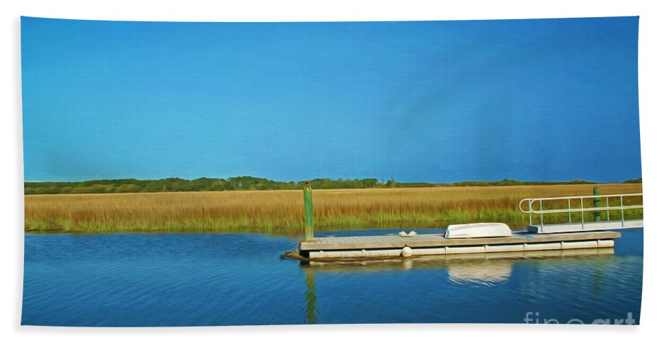 Sapelo Island Bath Sheet featuring the photograph Dock And Marshes by Laura D Young