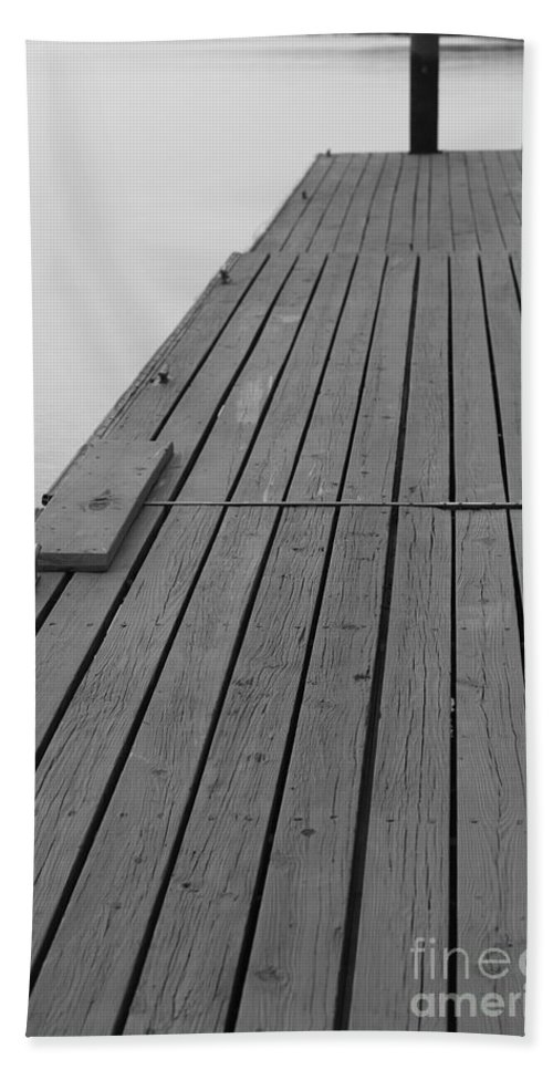 Dock Bath Towel featuring the photograph Dock In Black And White by Nadine Rippelmeyer