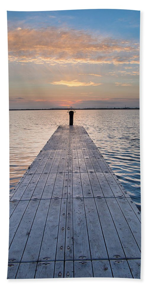 Soft Focus Hand Towel featuring the photograph Dock On Arcata Bay At Twilight by Greg Nyquist