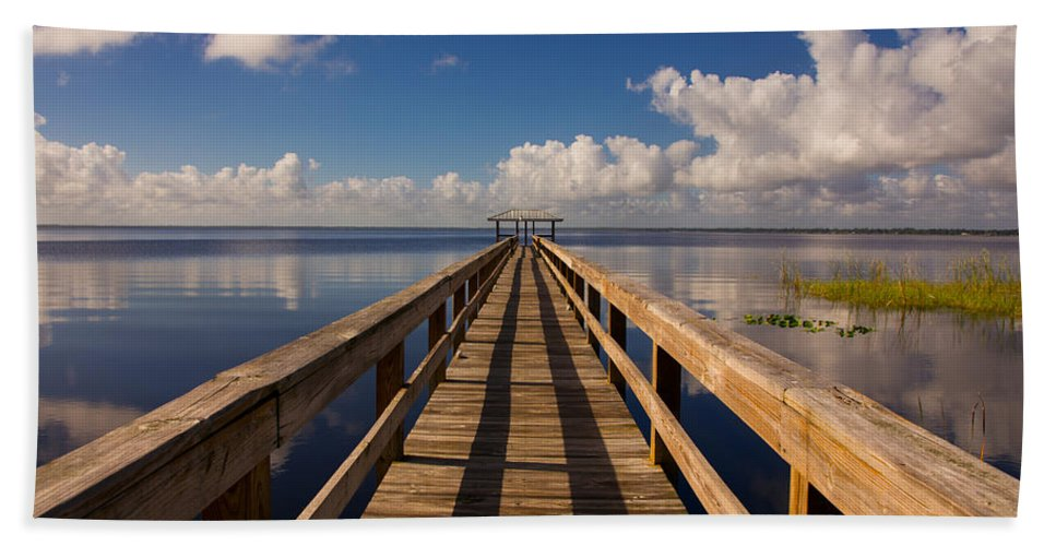 Dock Hand Towel featuring the photograph Dock On The Lake by Zina Stromberg