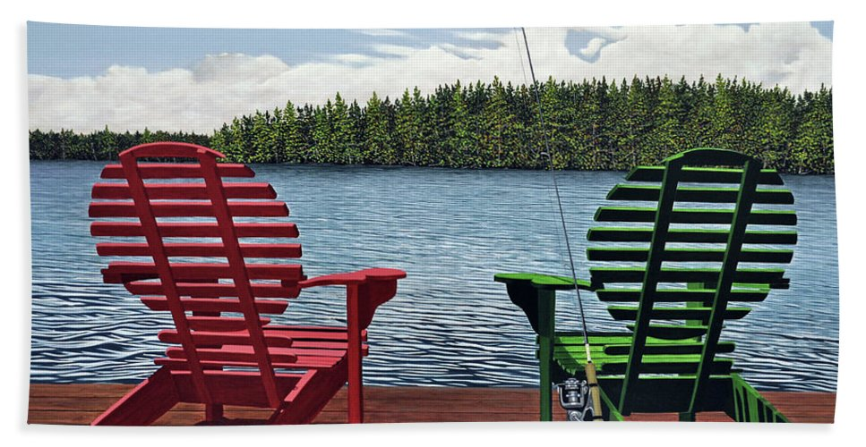 Landscapes Bath Towel featuring the painting Dockside by Kenneth M Kirsch