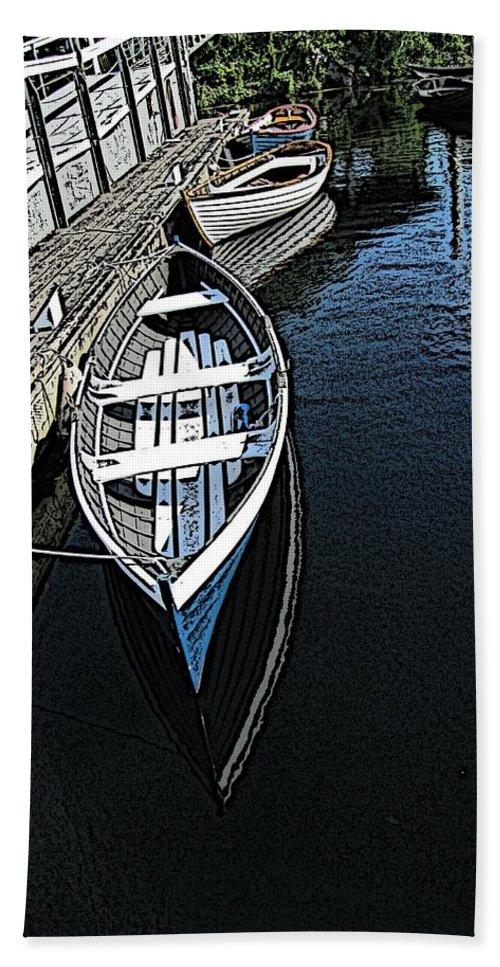 Dock Hand Towel featuring the digital art Dockside Quietude by Tim Allen