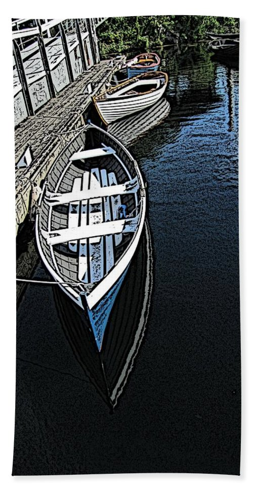 Dock Bath Sheet featuring the digital art Dockside Quietude by Tim Allen