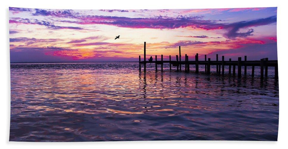 Dock Bath Sheet featuring the photograph Dockside Sunset by Janet Fikar