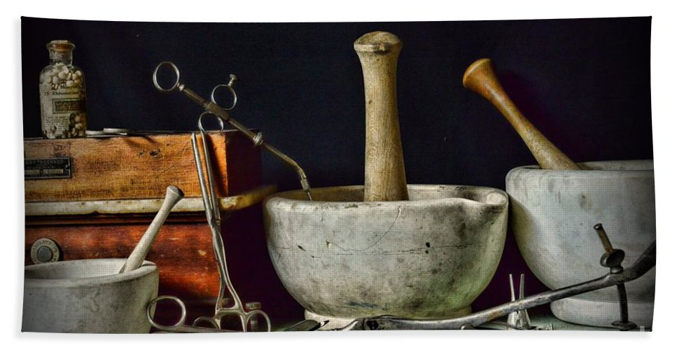 Paul Ward Hand Towel featuring the photograph Doctor All Those Medical Instruments by Paul Ward