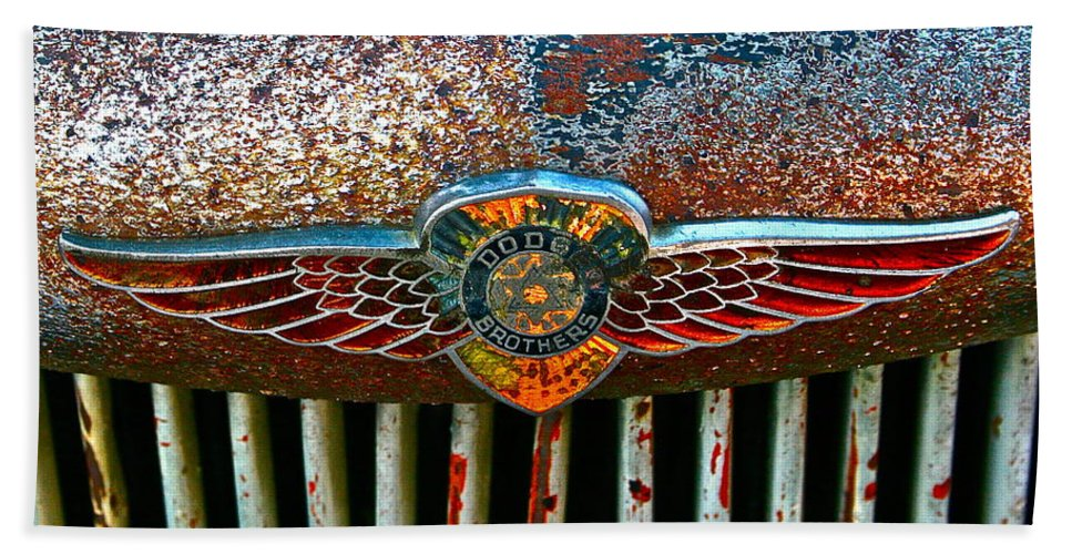 Dodge Emblem Bath Sheet featuring the photograph Dodge by Gwyn Newcombe