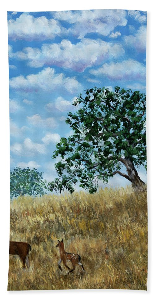 California Bath Towel featuring the painting Doe And Fawn Under White Fluffy Clouds by Laura Iverson