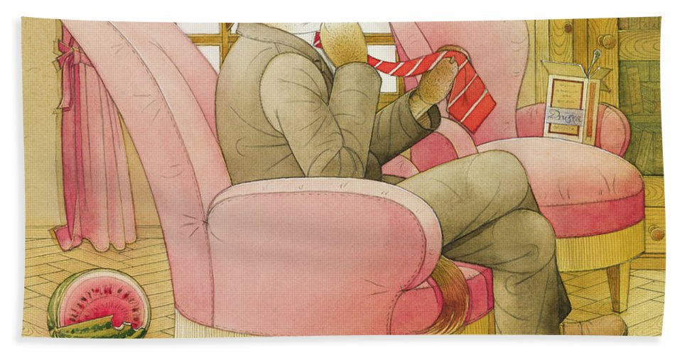 Dog Life Lifestyle Room Apartments Armchair Red Illustration Children Book Drawing Suit Bath Towel featuring the painting Dogs Life09 by Kestutis Kasparavicius