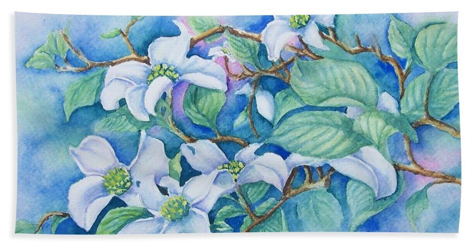 Floral Bath Sheet featuring the painting Dogwood by Conni Reinecke