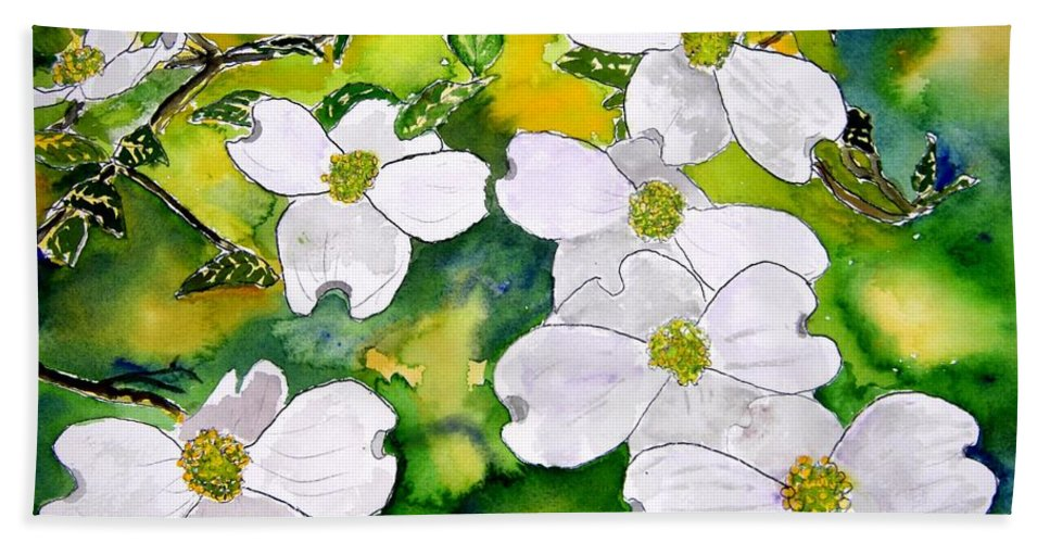 Dogwood Hand Towel featuring the painting Dogwood Tree Flowers by Derek Mccrea