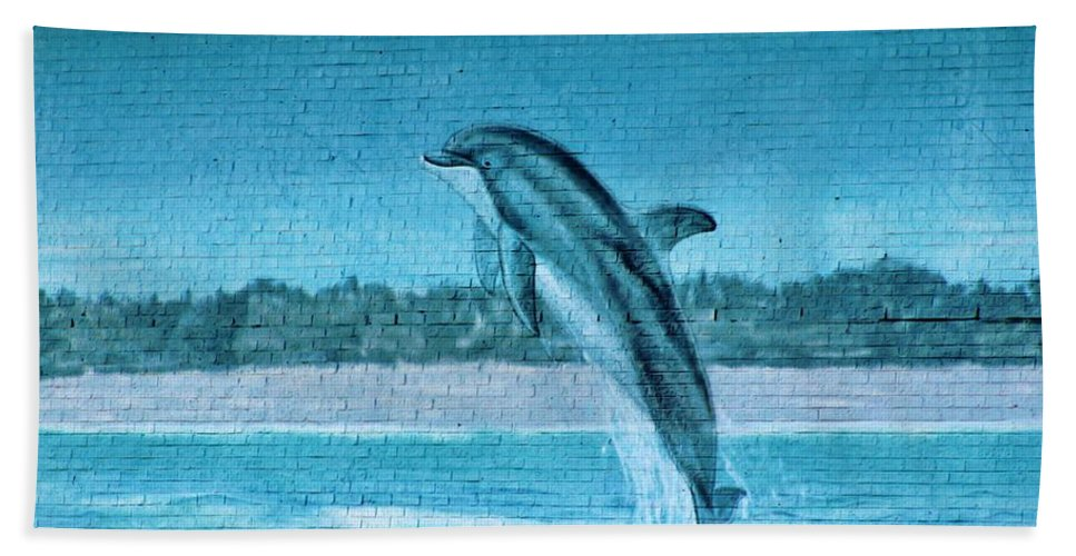 Dolphin Hand Towel featuring the photograph Dolphin Mural by Cynthia Guinn