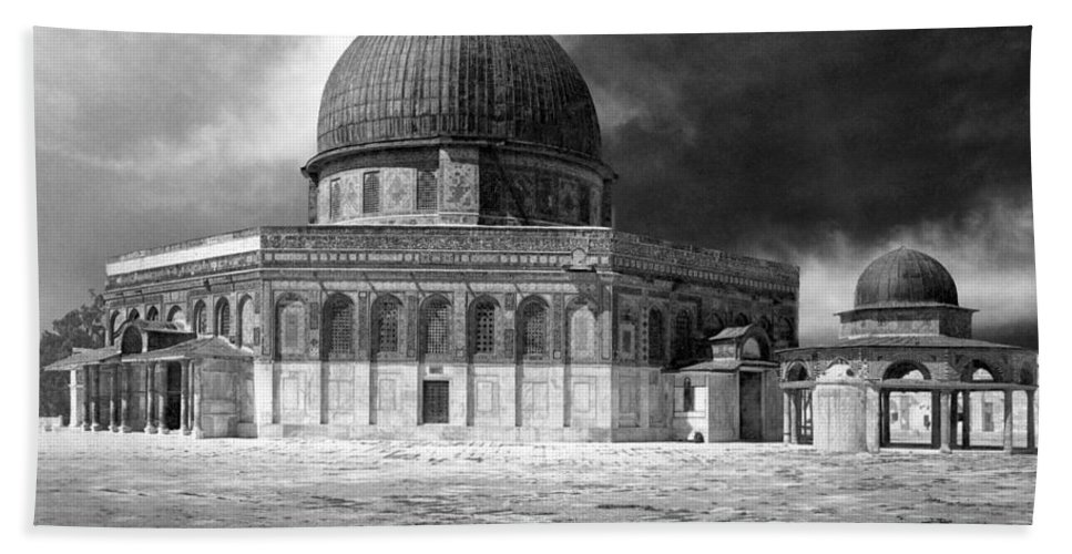 Jerusalem Hand Towel featuring the photograph Dome Of The Rock - Jerusalem by Munir Alawi
