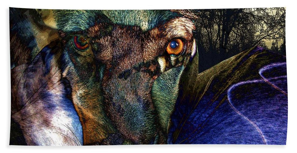 Dog Hand Towel featuring the photograph Domesticated by Ron Bissett