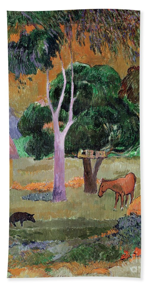 Dominican Landscape Or Hand Towel featuring the painting Dominican Landscape by Paul Gauguin