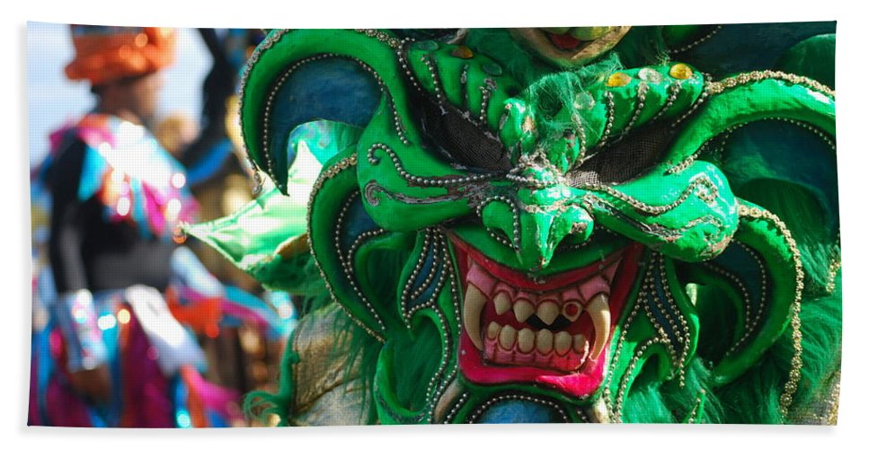 Carnival Bath Sheet featuring the photograph Dominican Republic Carnival Parade Green Devil Mask by Heather Kirk