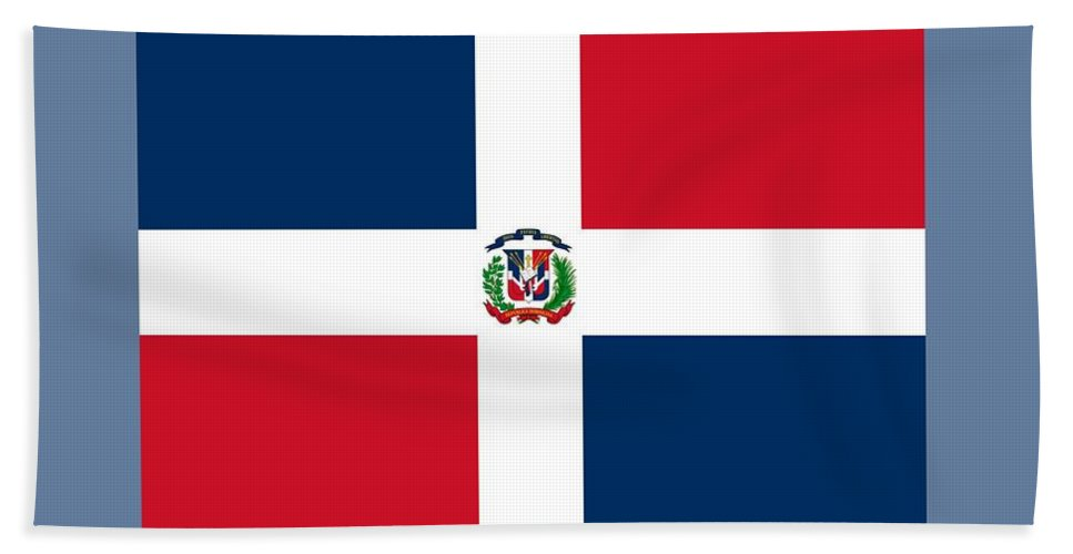Flag Hand Towel featuring the digital art Dominican Republic Flag by Frederick Holiday