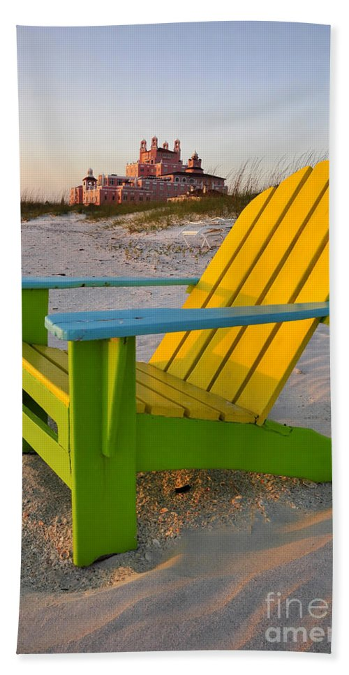 Don Cesar Hotel Hand Towel featuring the photograph Don Cesar And Beach Chair by David Lee Thompson