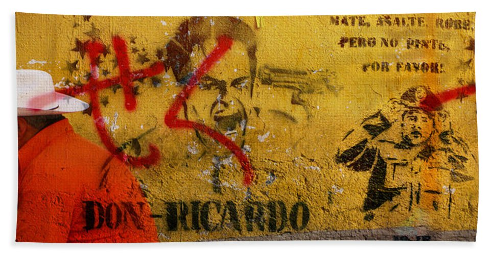 Grafitti Hand Towel featuring the photograph Don-ricardo by Skip Hunt