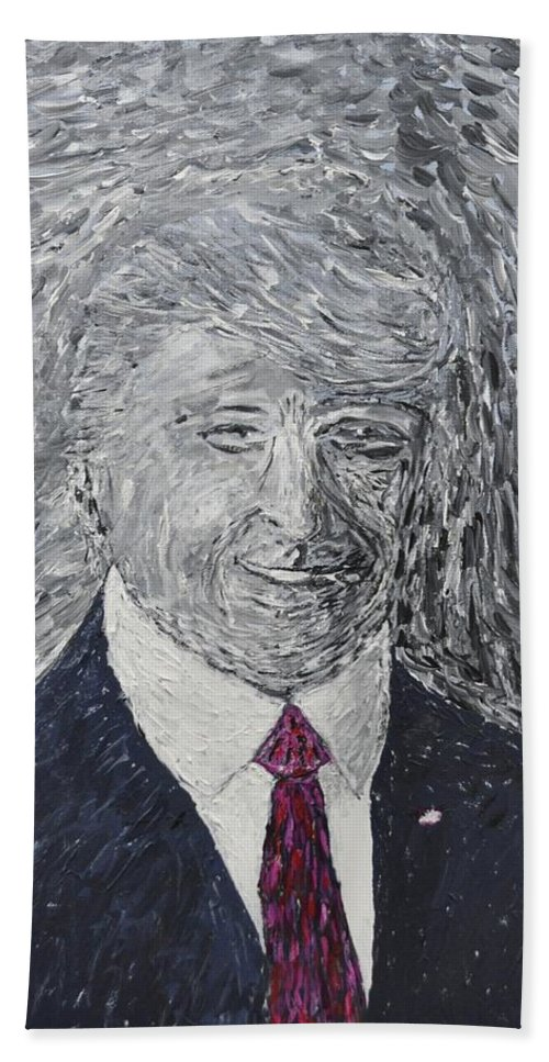 Donald J. Trump Hand Towel featuring the painting Donald J. Trump by Gino Tupone
