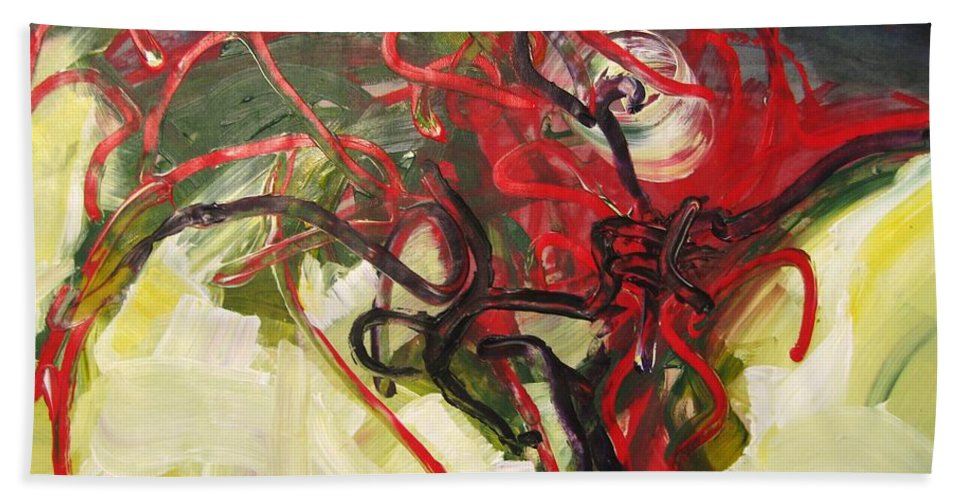 Abstract Paintings Paintings Abstract Art Paintings Hand Towel featuring the painting Don't Bother Me by Seon-Jeong Kim