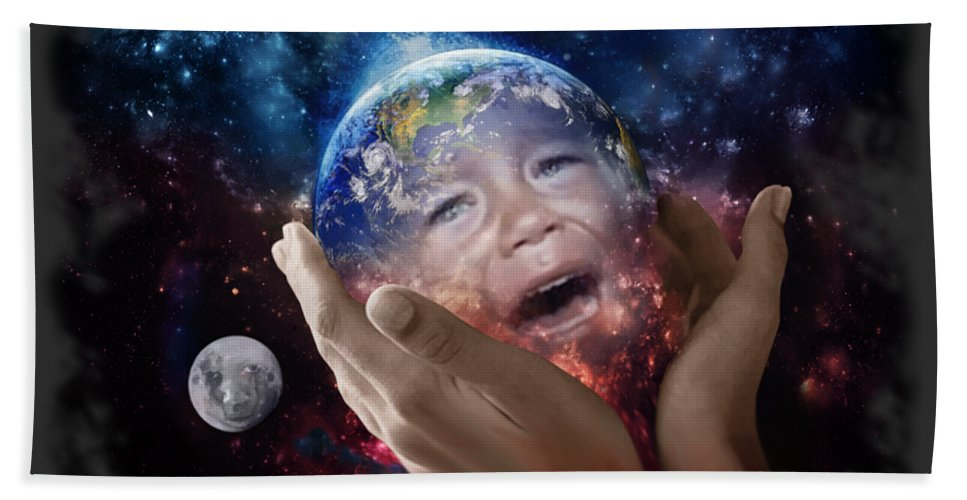 Canvas Prints Hand Towel featuring the digital art Don't Cry Little Earth by Joseph Juvenal