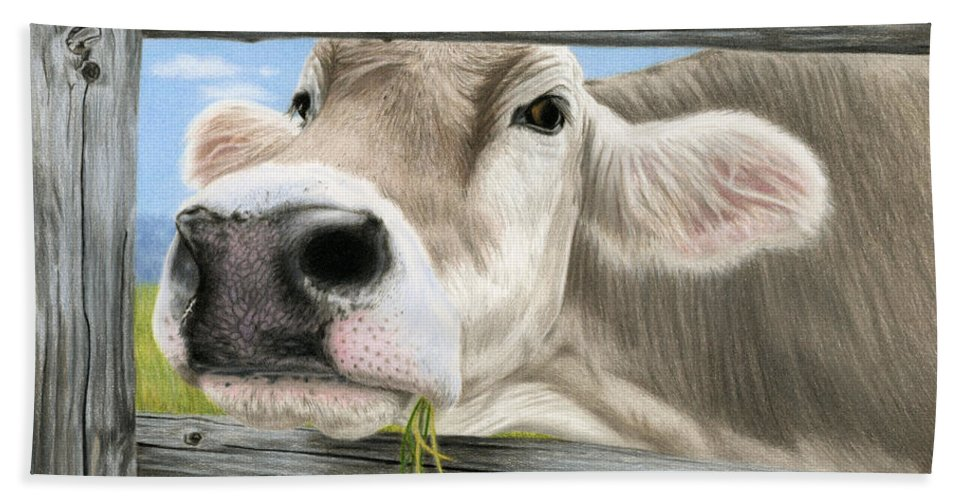 Brown Swiss Bath Sheet featuring the painting Don't Fence Me In by Sarah Batalka
