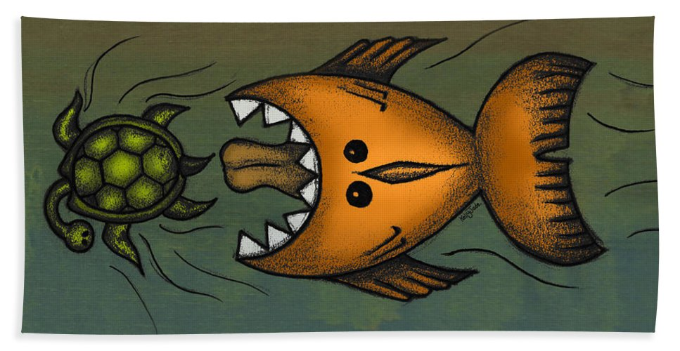 Fish Bath Towel featuring the digital art Don't Look Back by Kelly Jade King