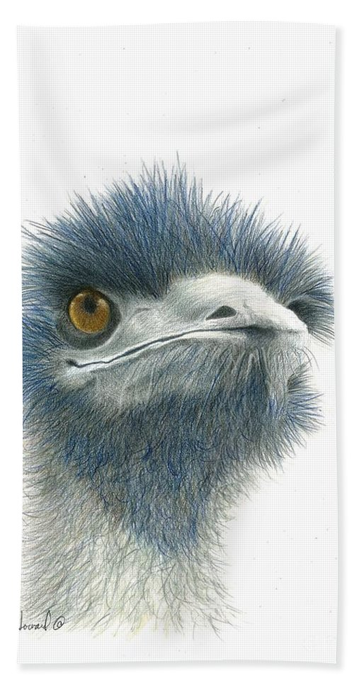 Emu Bath Sheet featuring the drawing Dont Mess With Emu by Phyllis Howard