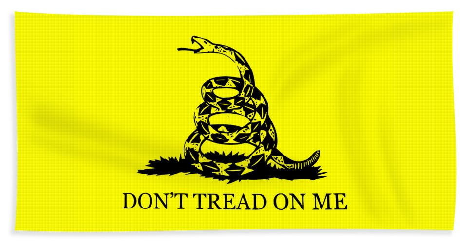 Dont Tread On Me Bath Sheet featuring the mixed media Don't Tread On Me Flag by War Is Hell Store