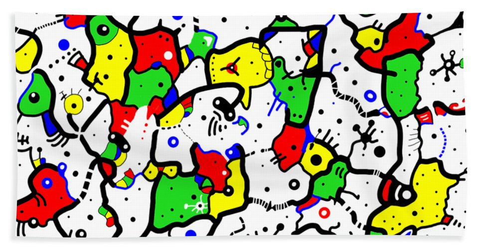 Abstract Hand Towel featuring the digital art Doodle Abstract by Marv Vandehey