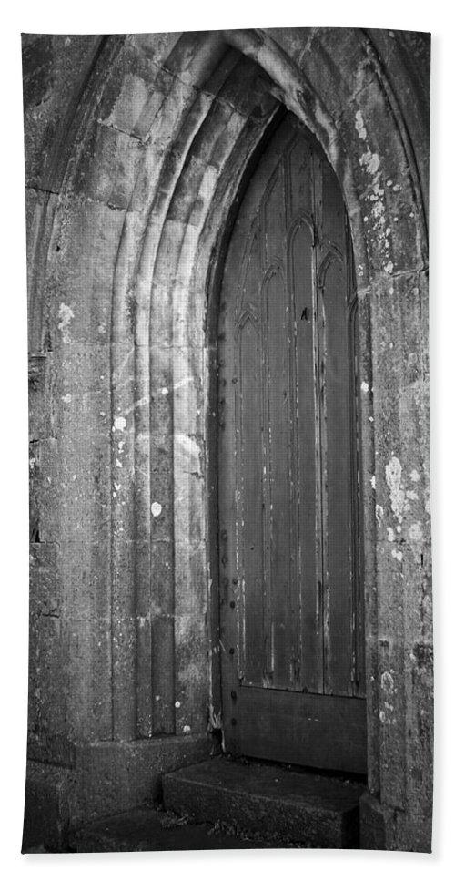 Irish Bath Towel featuring the photograph Door At Protestant Church Macroom Ireland by Teresa Mucha