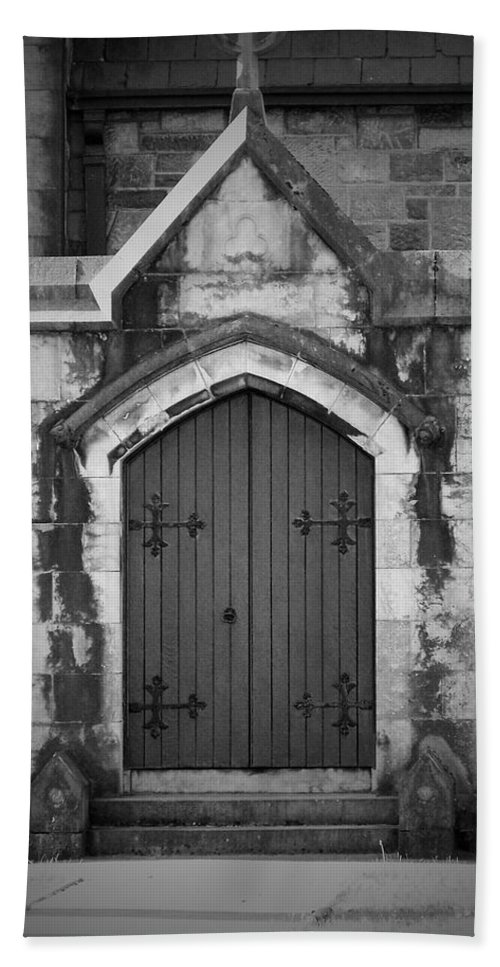 Irish Bath Sheet featuring the photograph Door At St. Johns In Tralee Ireland by Teresa Mucha