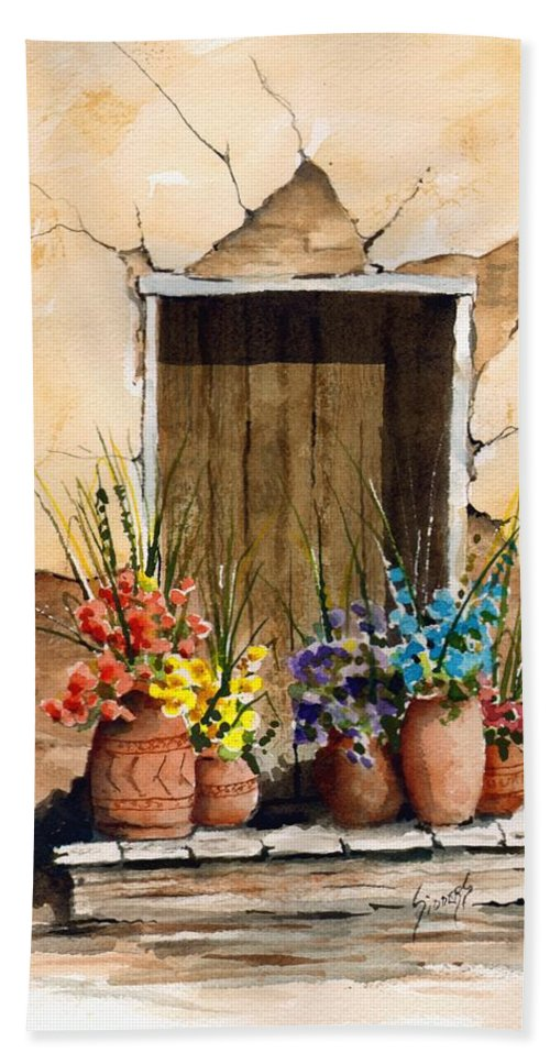 Door Hand Towel featuring the painting Door With Flower Pots by Sam Sidders