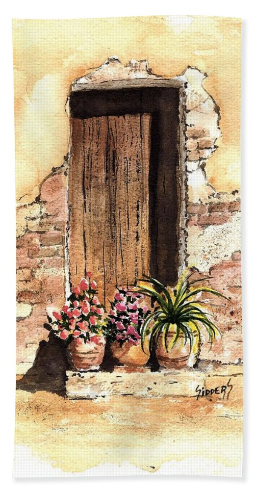 Door Bath Towel featuring the painting Door With Flowers by Sam Sidders