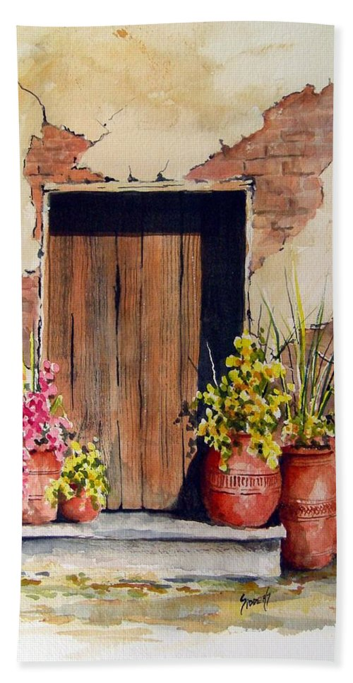 Flowers Bath Sheet featuring the painting Door With Pots by Sam Sidders