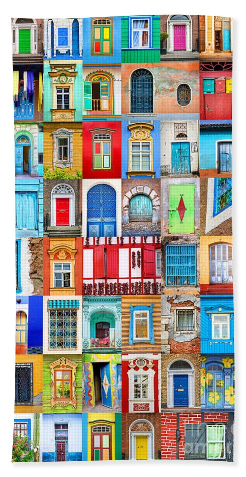 Doors Hand Towel featuring the photograph Doors And Windows Of The World - Vertical by Delphimages Photo Creations