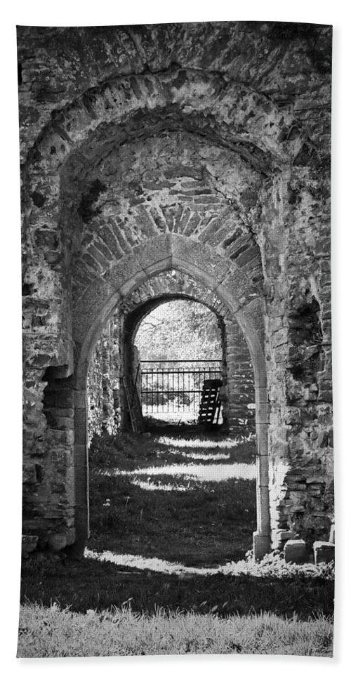 Irish Bath Towel featuring the photograph Doors At Ballybeg Priory In Buttevant Ireland by Teresa Mucha
