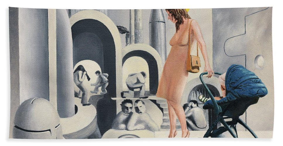 Woman Bath Sheet featuring the painting Dope Dupe Museum by Oleg Konin