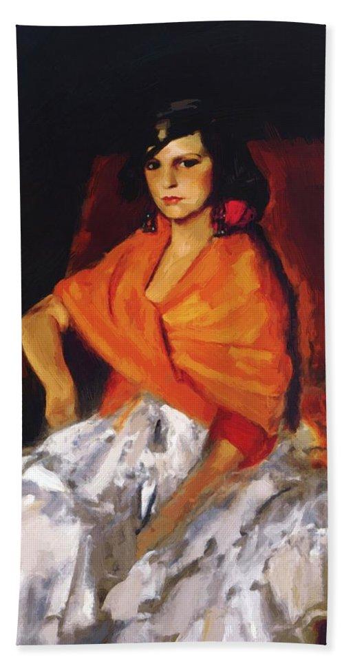Dorita Bath Sheet featuring the painting Dorita 1923 by Henri Robert