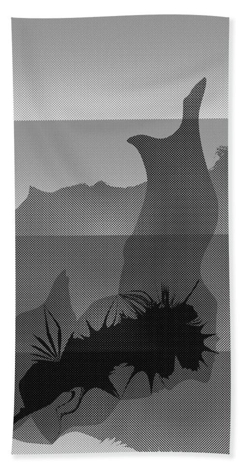 Burrow Hand Towel featuring the digital art Dot Splat Strata by Kevin McLaughlin