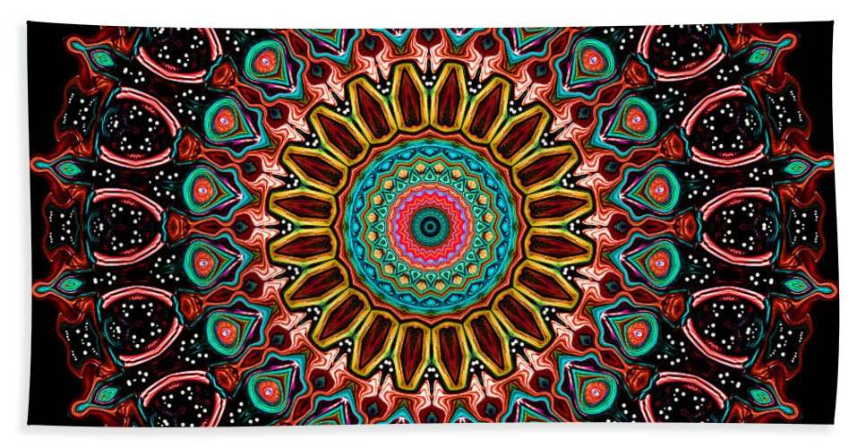 Digital Hand Towel featuring the digital art Dotted Wishes No. 4 Mandala by Joy McKenzie