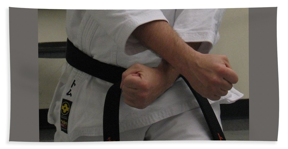 Karate Bath Sheet featuring the photograph Double Fisted by Kelly Mezzapelle