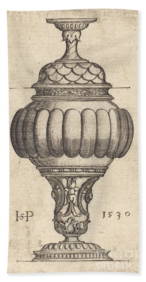 Hand Towel featuring the drawing Double Goblet With Oval Decorations by Sebald Beham