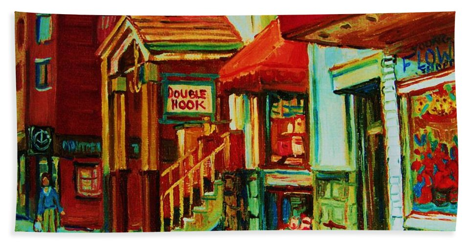 Double Hook Bookstore Bath Towel featuring the painting Double Hook Book Nook by Carole Spandau