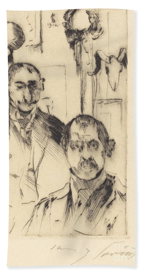 Hand Towel featuring the drawing Double Portrait With Skeleton (doppelbildnis Mit Skelett) by Lovis Corinth
