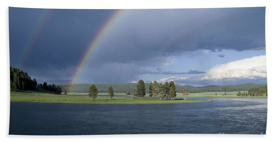 Yellowstone Hand Towel featuring the photograph Double Rainbow At Alum Creek by Sandra Bronstein
