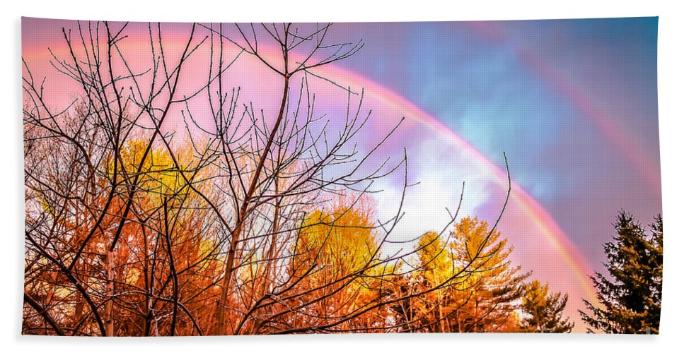 Sunsets Hand Towel featuring the photograph Double Rainbow-hdr by Claudia M Photography